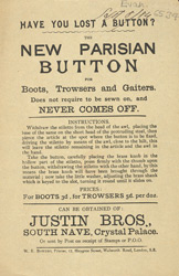 Advert for the Justin Brothers' Parisian Button